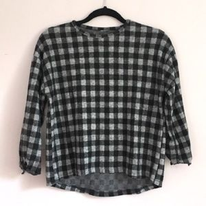 Plaid soft 3/4 sleeve